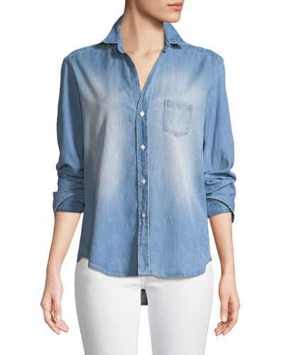 Eileen Long-Sleeve Button-Down Denim Shirt