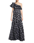 Rhea Polka-Dot Print One-Shoulder Dress