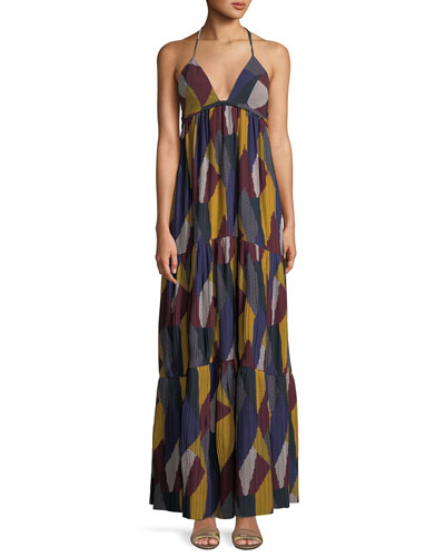 Patterned Weave V-Neck Maxi Dress