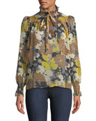 Bell Floral-Print Long-Sleeve Keyhole Blouse