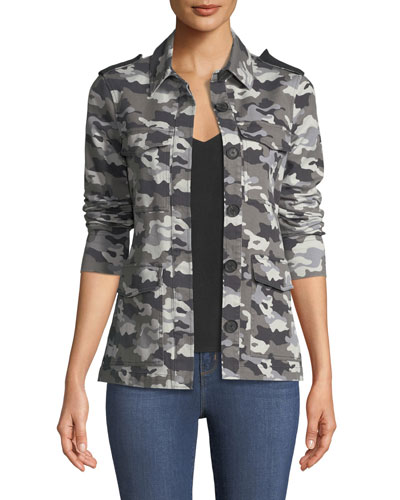 Cromwell Button-Front Camo-Print Military Jacket