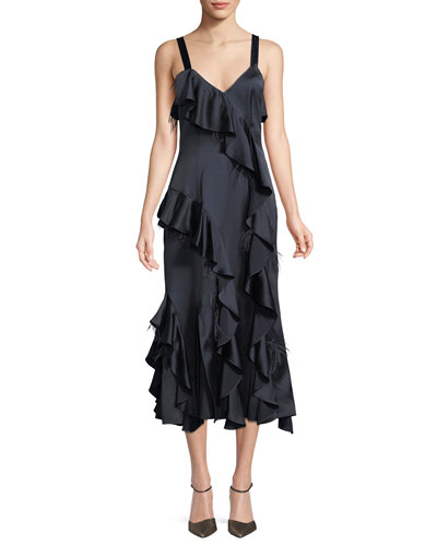 Gigi V-Neck Sleeveless Satin Ruffled Dress w/ Feather Trim