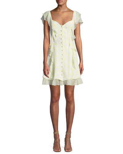 Georgia Sweetheart Button-Down Silk Chiffon Dress