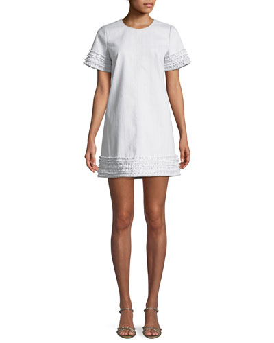 Ashton Crewneck Short-Sleeve Cotton Shift Dress w/ Frayed Trim