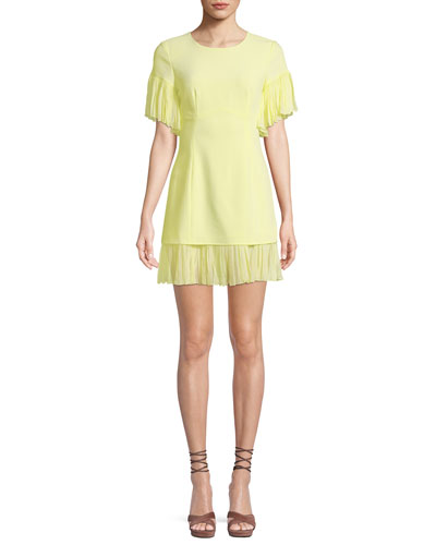 Rosaria Crewneck Short-Sleeve Sheath Dress w/ Pleated Chiffon Trim