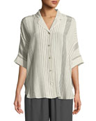 Striped Silk Half-Sleeve Shirt, Plus Size