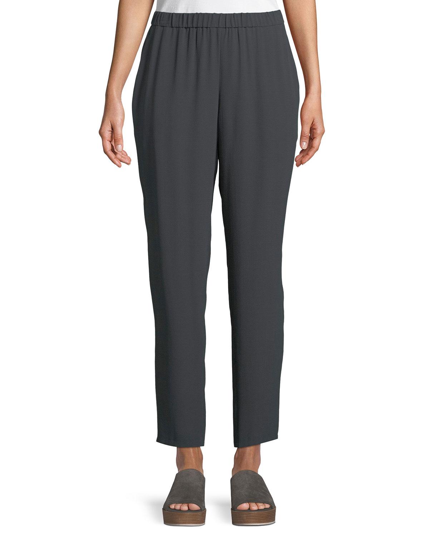 Silk Georgette Ankle Pants