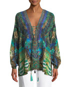 Printed Silk Long-Sleeve Lace-Up Blouse