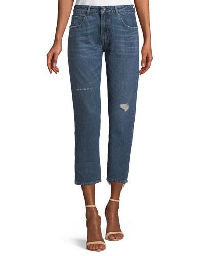 Crush Taper Straight-Leg Mid-Wash Jeans