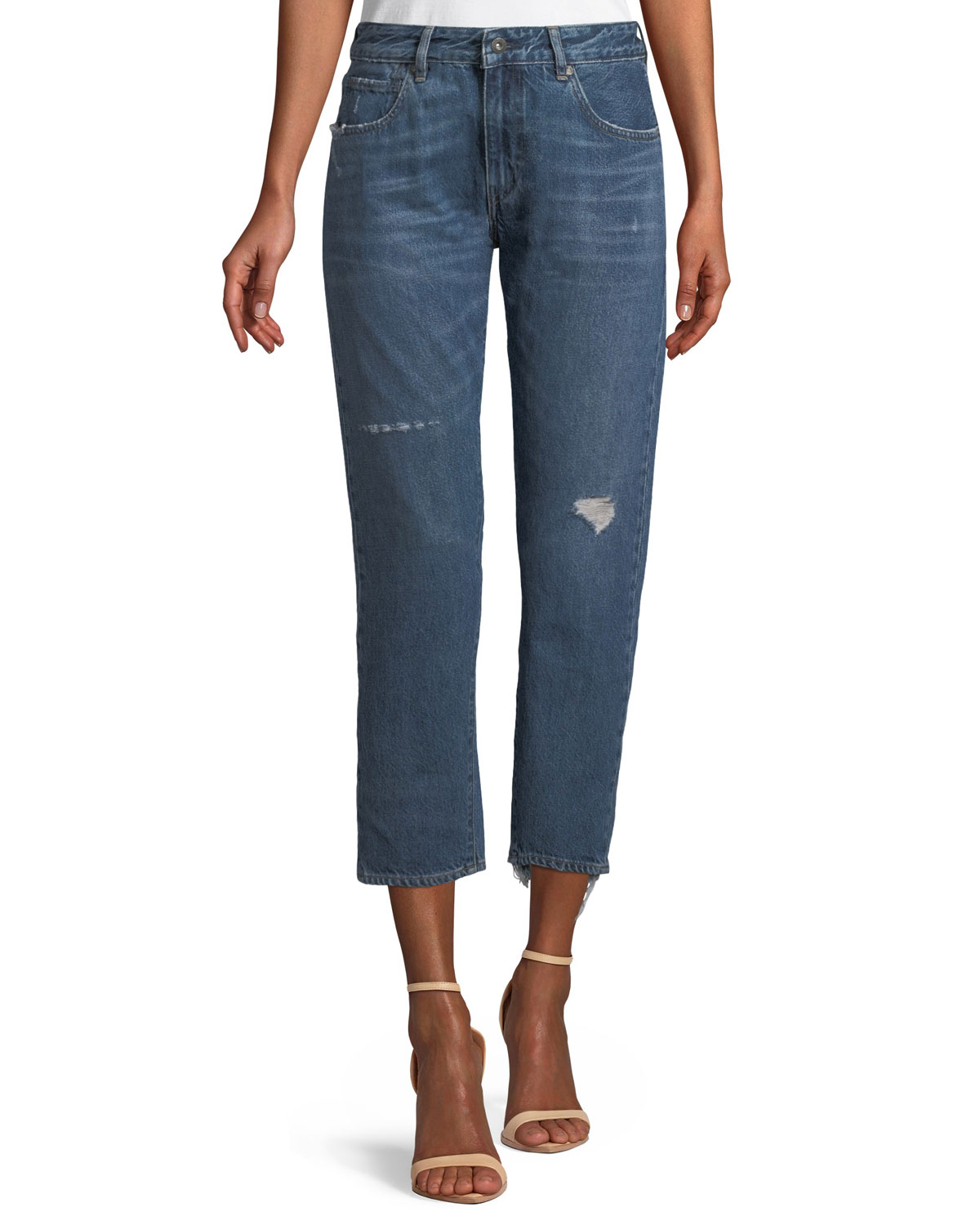 Crush Taper Straight-Leg Mid-Wash Jeans