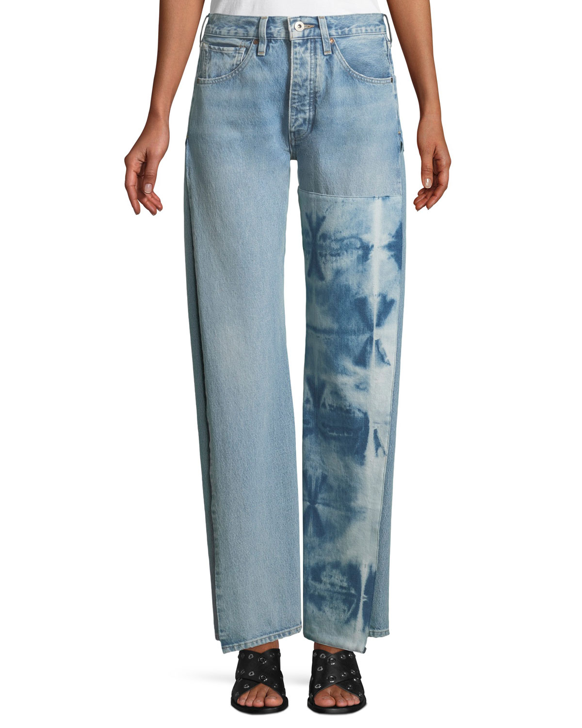 Arrow Split-Seam Straight-Leg Jeans
