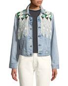 Boyfriend Trucker Denim Jacket w/ Embroidery