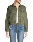 Button-Down Military-Style Cotton Jacket