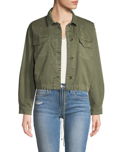 Button-Down Military-Style Cotton Jacket