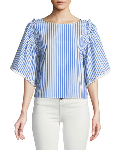 Boxy Striped Flutter-Sleeve Top
