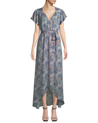 Floral-Print Short-Sleeve Maxi Wrap Dress