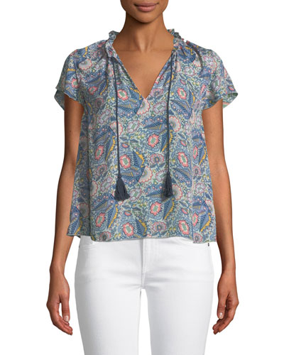 Floral-Print Short-Sleeve V-Neck Blouse