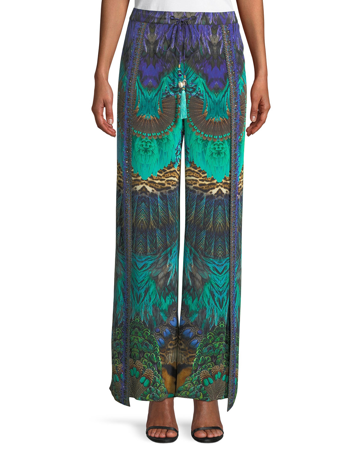 Embellished Silk Split-Leg Drawstring Pants