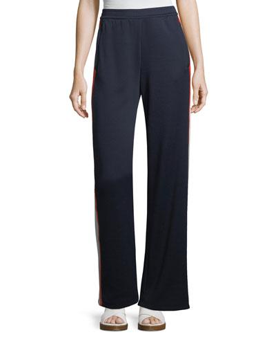 Wide-Leg Side-Stripe Jersey Track Pants