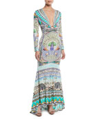Printed Silk Long-Sleeve Maxi Dress