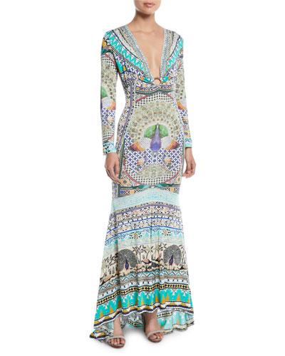 Printed Silk Long-Sleeve Maxi Dress