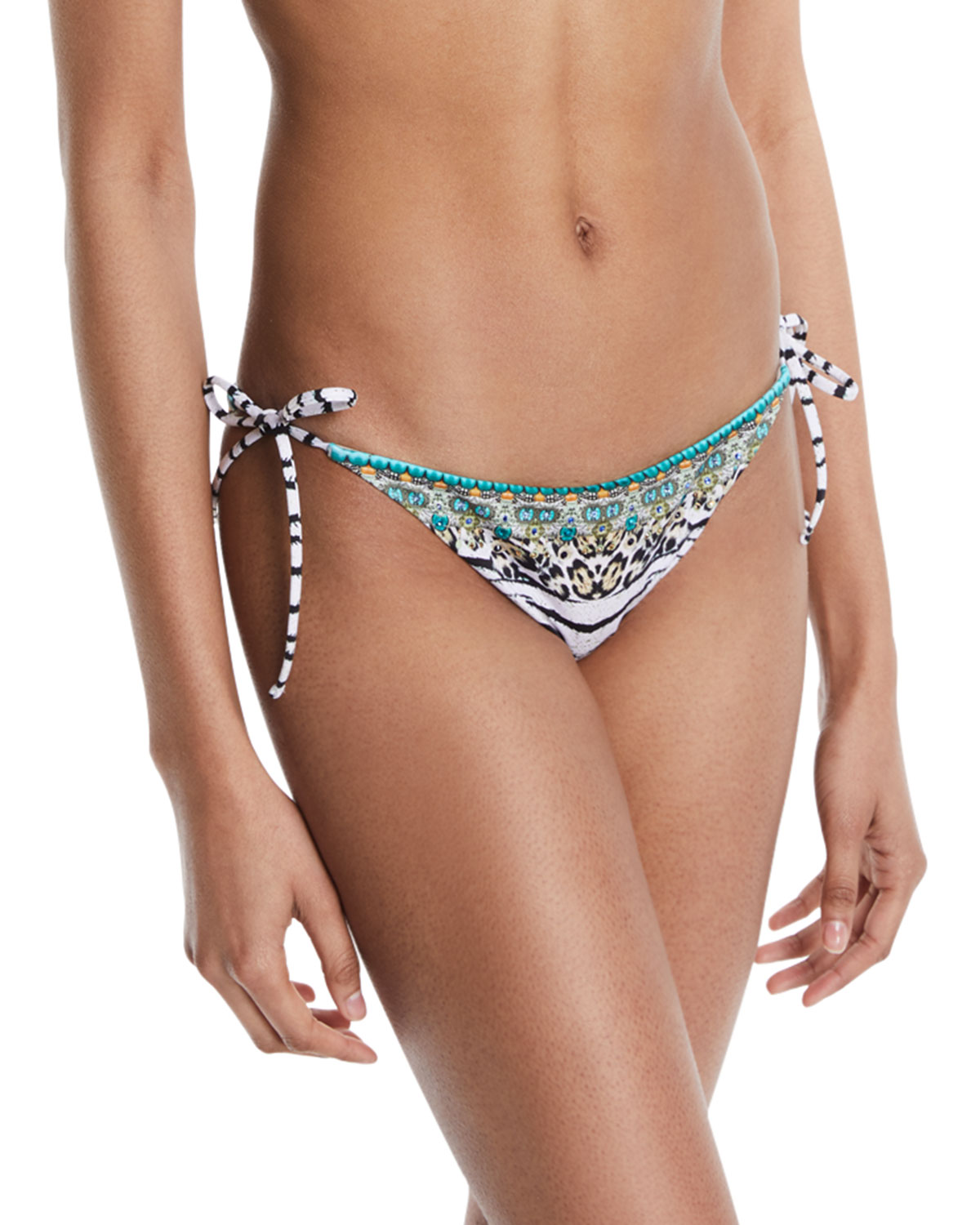 Camilla Embellished Tie-Side Swim Bottoms