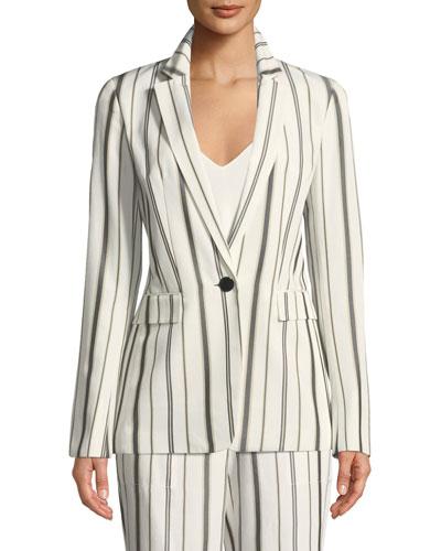 Marie Gallant-Striped One-Button Blazer