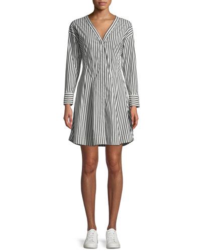 Bryson Stripe Darted Button-Down Dress