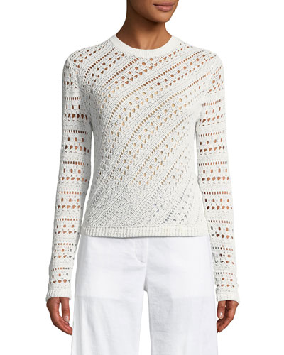 Tissage Crochet Cotton-Blend Sweater
