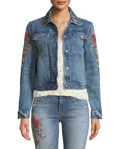 The Ren Floral-Embroidered Crop Trucker Jacket