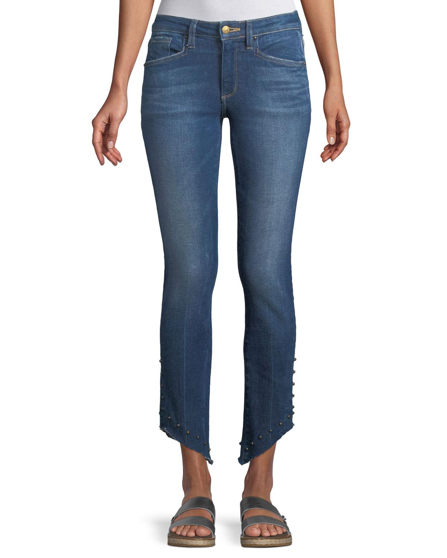 Loren Kaylor Skinny-Leg Jeans w/ Grommet Asymmetric Hem