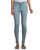 Taylor High-Rise Skinny-Leg Jeans w/ Frayed Hem