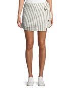 Wrap-Tie Skirt in Split Stripes