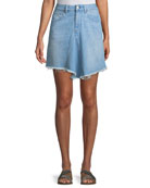Marilyn Levy A-Line Denim Skirt w/ Asymmetric Frayed Hem
