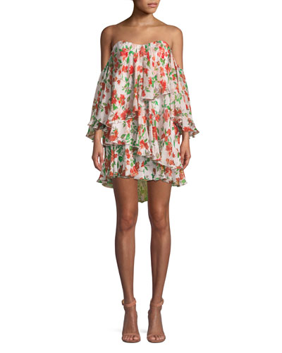 Cleopatra Off-the-Shoulder Floral Mini Dress