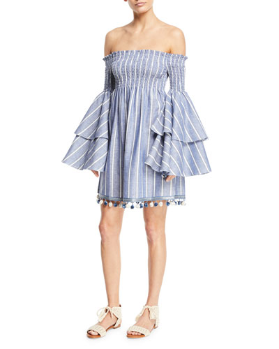 Appolonia Off-the-Shoulder Striped Bell-Sleeve Mini Dress