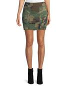 Camo-Print Repurposed Mini Skirt