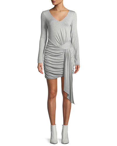 Long-Sleeve V-Neck Faux-Wrap Dress