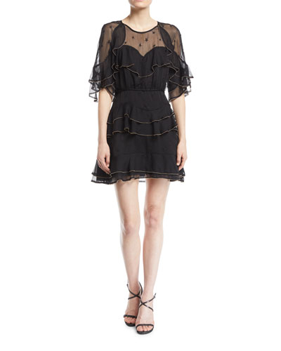 Eloise Embroidered Frill Mini Dress