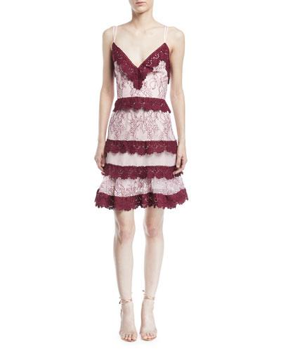 Sensibility Floral Lace Trim Mini Dress