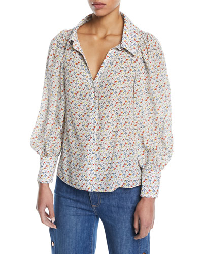 Salome Martinis Open-Neck Long-Sleeve Blouse