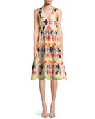 Becca Hummingbirds Sleeveless V-Neck Tea-Length Pouf Dress