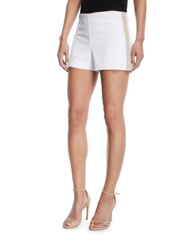 Sherri Embellished Back-Zip Shorts