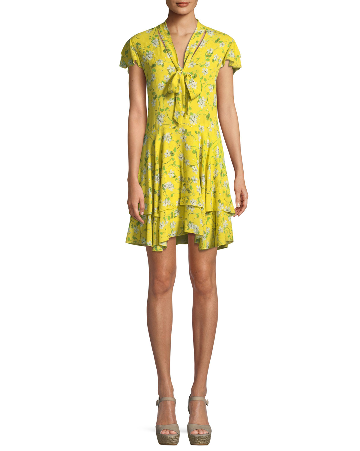 ALICE + OLIVIA MOORE FLORAL TIE-NECK TUNIC DRESS