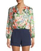 Trista Cross-Front Floral-Print Blouson Top
