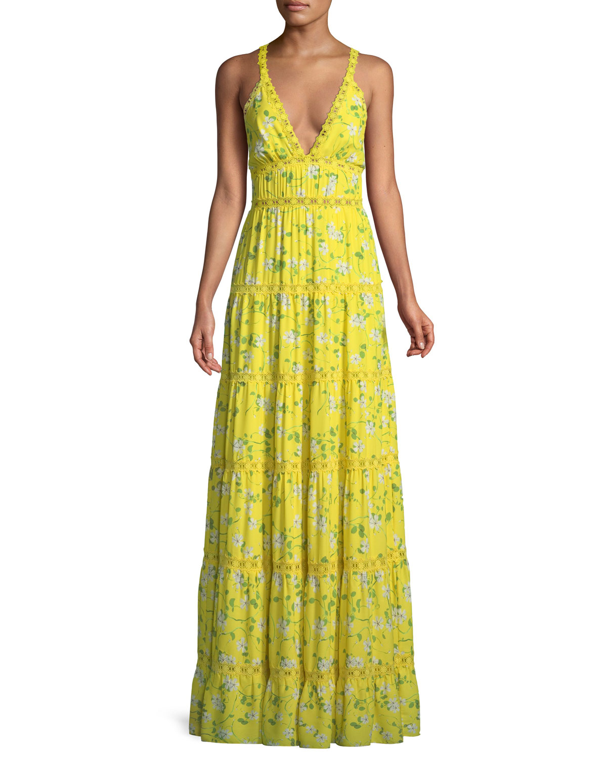 Karolina Crochet-trimmed Floral-print Chiffon Maxi Dress - Bright yellow Alice & Olivia