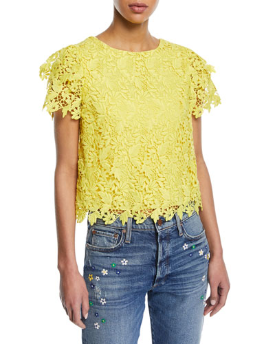 Franca Floral Cutout Short-Sleeve Top