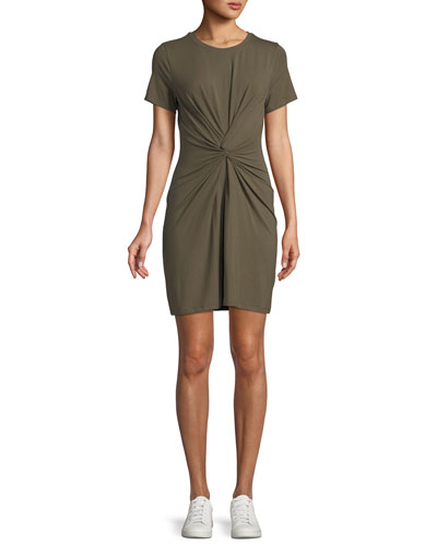 Knotted Short-Sleeve T-Shirt Dress