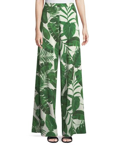 Athena Super Flared Palm-Leaf Print Pants