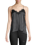 The Racer Stripe Silk Charmeuse Camisole w/ Lace Trim